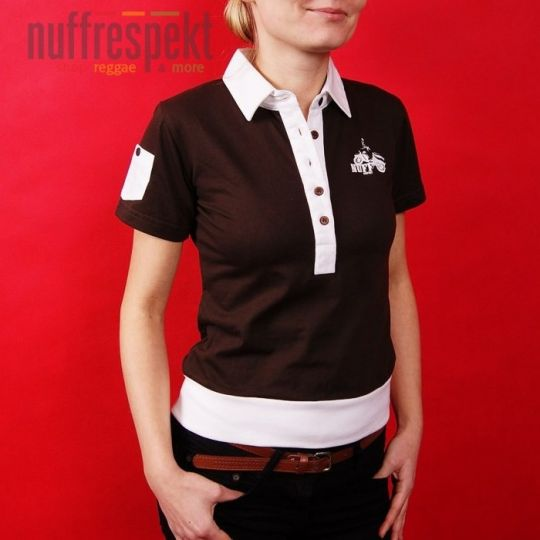 Old-school, vintage polo shirt - brown with white