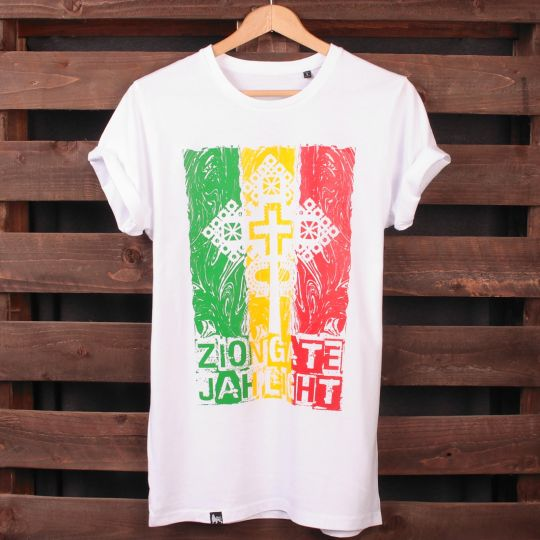 Zion Gate Jah Light - white tshirt | Organic Cotton