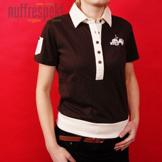 Old-school, vintage polo shirt - brown with cremy