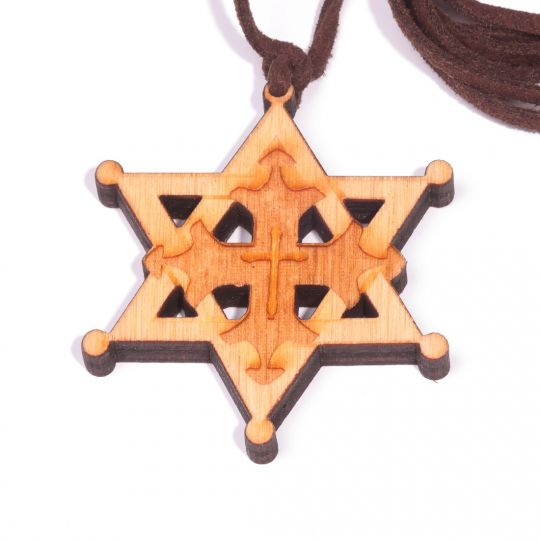 Necklace - hexagram with cross