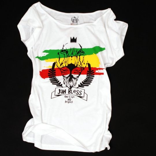 Ladies t-shirt - Jah Bless / One Love and Respect - white