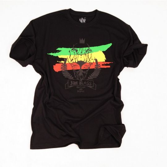Męski t-shirt- Jah Bless / One Love and Respect - czarny
