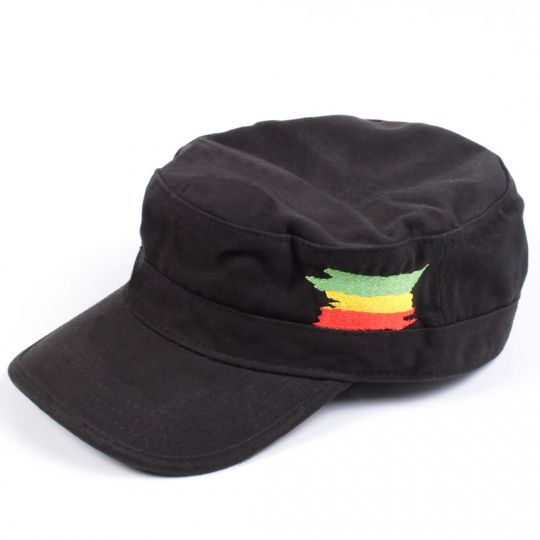 Army flat cap Rasta flag | black