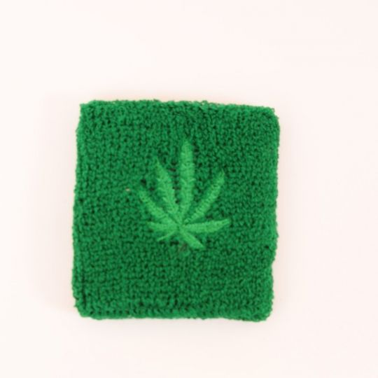 Ganja leaf wrist band - green