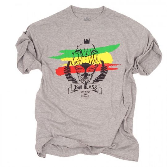 Tshirt - Jah Bless / One Love and Respect - gray