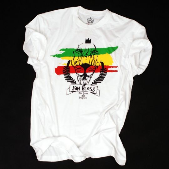 Rasta t-shirt Jah Bless / One Love and Respect - biały