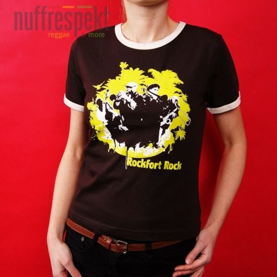 Rockfort Rock - brown tshirt with cream contrast