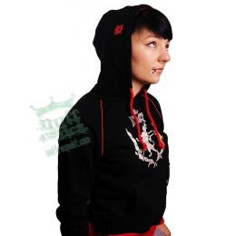 Ladies Hoody - Modern Wreath Nuff Respekt - black/red