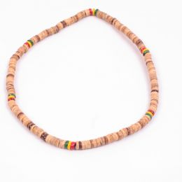 Tube surf Rasta and beige  necklace