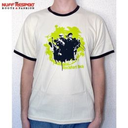 Rockfort Rock - cream tshirt with brown contrast