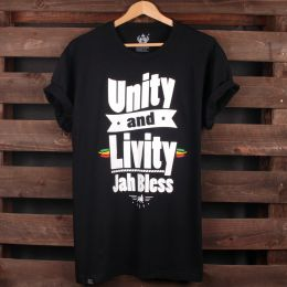Unity and Livity Jah Bless tshirt | czarna