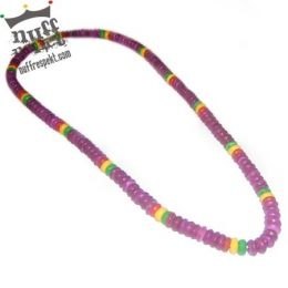 Violet beads with rasta elements