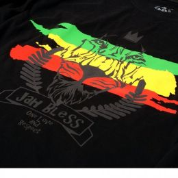 Tshirt - Jah Bless / One Love and Respect - black