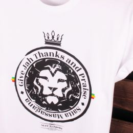 Satta Massagana Give Jah thanks and Praise Tshirt biały