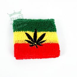 Rasta wrist band with ganja leaf
