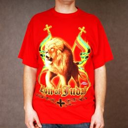T-shirt Lion of Judah - czerwony
