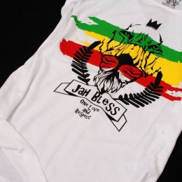 Tshirt damski Jah Bless / One Love and Respect - biały