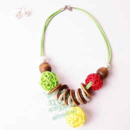 Necklace woven wooden balls + earrings #3