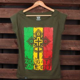 Zion Gate Jah Light ladies khaki tshirt