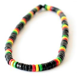 Wood Bead Necklace | black + rasta
