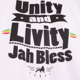 Bokserka Unity and Livity Jah Bless | biała Unisex