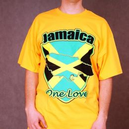 T-shirt Jamaica - One Love - żółty