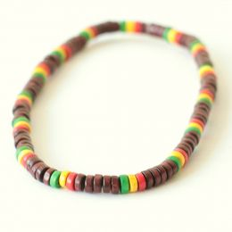 Wood Bead Necklace | brown + rasta