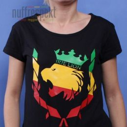 Irie Lion rasta - black ladies tshirt