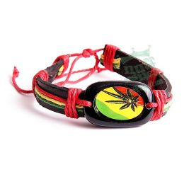 Rasta Bracelet with Ganja leaf