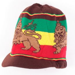 Czapka na dready Lion of Judah | brąz + Rasta