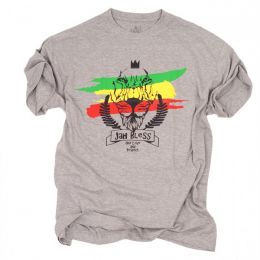Tshirt męski - Jah Bless / One Love and Respect - szary