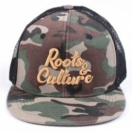 Roots & Culture trucker cap | Camo & Black
