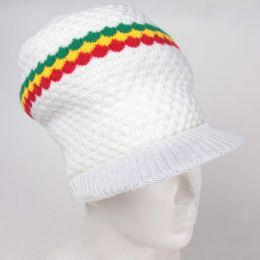 White dreadlock hat / rasta inset