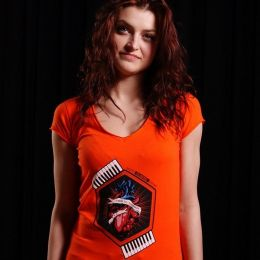 Nuff Wear Heart women's t-shirt 01713 - neon orange