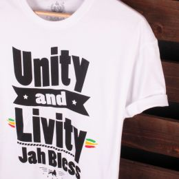 Tshirt Unity and Livity Jah Bless | biały