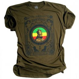 T-shirt Jah son of Africa / Rasta Got Soul - oliwkowy