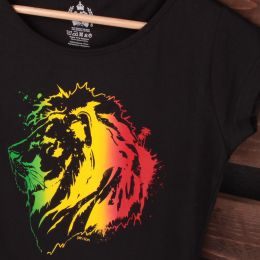 Rasta Jah Lion ladies black tshirt
