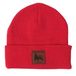 Fisherman winter hat  Docker cap with Lion label  | red