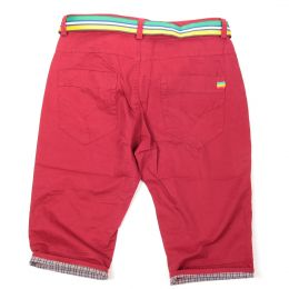 Irie Lion shorts with belt | Deep Red - Rasta