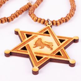 Wood necklace - hexagram with Lion of Judah