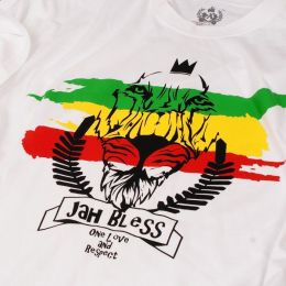 Męski t-shirt Jah Bless / One Love and Respect - biały