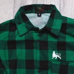 Regular Fit Long Sleeve Plaid Flannel Shirt | Green & Black